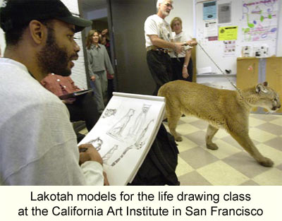 photo of Lakotah modeling for a life drawing class at the California Art Institute in San Francisco