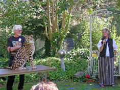 Rob and Kgosi with Dr. Laurie Marker, founder of the Cheetah Conservation Fund