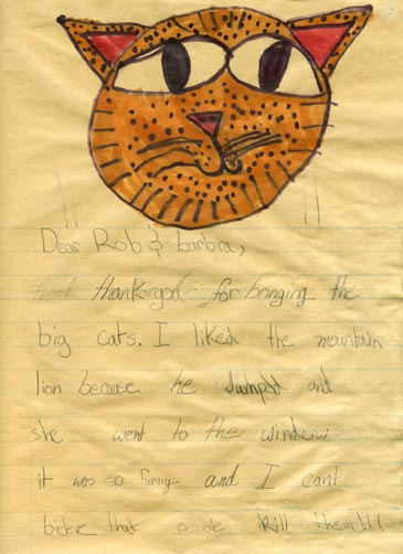 a letter and drawing from a student